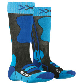 X-Socks Ski 4.0 Chaussettes Enfant, anthracite melange/electric blue